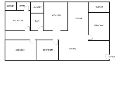 4 bed, 2 bath floor plan